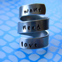 want, need,  love  3 twist spiral aluminum  1/4 inch