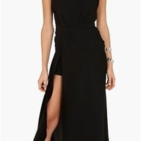 Haute Hippie - High Neck Draped Fitted Gown with Slit- Black- Big Drop NYC