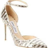 Jimmy Choo Lucy 100 Snakeskin Embossed Leather Pump, 39.5, Metallic