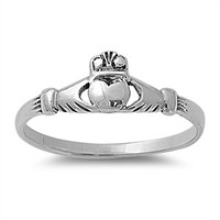 925 Sterling Silver Claddagh Benedict Ring 6MM