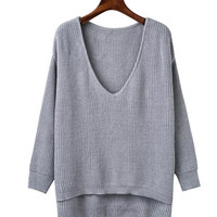 V Neck Solid Color High-low Hem Cut Long Sleeve Sweater in Rib Knit