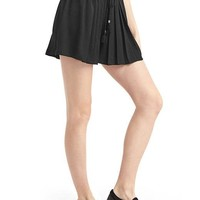 Satin high rise pleat shorts | Gap
