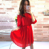 Off Shoulder Ribbon Chiffon Dress