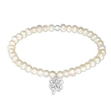 Fresh Water Pearl Cloverleaf Lucky Charm with Clear Zircon   Solid 925 Sterling Silver
