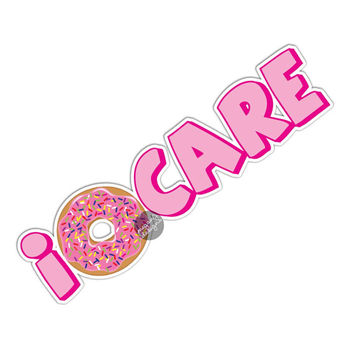 I Donut Care Sticker Cute Car Decal Laptop Decal Donut Bumper Sticker Colorful Words Doughnut Sprinkles Ipad Sticker Pink Girly Food Sticker