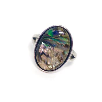 Abalone Shell Oval Shape Ring