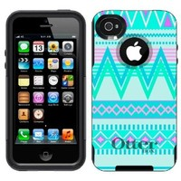 Otterbox Commuter Aztec Andes Tribal White and Teal Case for Apple iPhone 4