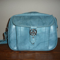1975 Marbled Baby Blue American Tourister Carry On Weekend Bag