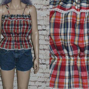 70s Peasant Blouse Tank Top Halter Tube Tie Plaid Lace Eyelet Boho Hippie Festival Hipster xs s m Red Crop Cropped 60s
