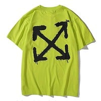 Off White New fashion letter arrow print couple top t-shirt Green