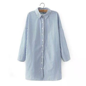Summer Women's Fashion Korean Stripes Blouse [6513039751]