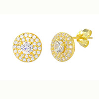 Stud Earrings Yellow Gold Plate Pave White CZ Cubic Zirconia 9mm Circle MP Frame
