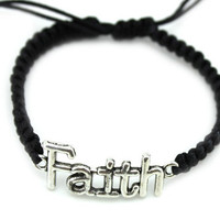 Ancient silver faith charm braided bracelet, personalized fashion bracelet, the best gift of friendship