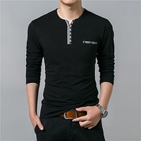 Cotton T Shirt Men Spring Autumn New Long Sleeve T-Shirt Men Henry Collar Tee Shirt Men Fashion Casual Tops
