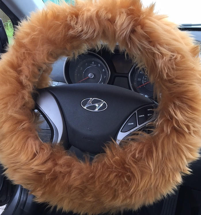Image of Fur Fluffy Steering Wheel Cover 1 piece