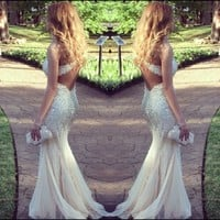Sean Collection 50498 Champagne Prom Dress