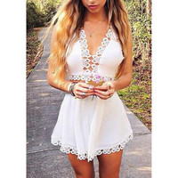 Cute hollow out lace two piece romper