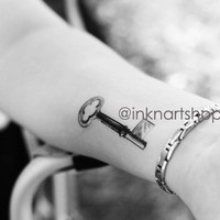 2pcs Vintage Skeleton Key Tattoo - InknArt Temporary Tattoo -  pack tattoo collection quote anchor bird love body sticker wrist