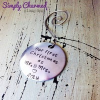 Our First Christmas As Mr. And Mrs. Ornament-Christmas-Hand Stamped