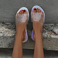 New women's shoes, large size sandals, women's rhinestone one-word drag flat beach slippers