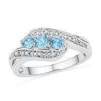 925 Sterling Silver 0.04 ctw Diamond 0.55 ctw Blue Topaz Ring