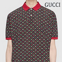 GUCCI Fashion Men Women Casual Five-Pointed Star Print Short Sleeve Polo Shirt Top