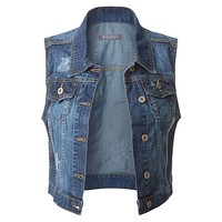 Fitted Cropped Denim Vest Jacket with Pockets (CLEARANCE)