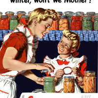 Vintage World War II Poster of a Mother And Daughter Canning Vegetables Photographic Print by Stocktrek Images at Art.com
