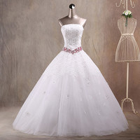 JAEDEN Strapless Ball Gown Wedding Dresses Lace Cover Satin Crystal Beading Floor Length Bridal Wedding Gowns W040