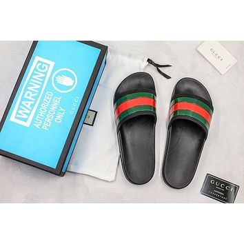 Gucci Black Rubber With Green And Red Web Slide Sandal With Blue Box