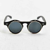 Matte Flip Round Sunglasses- Black One