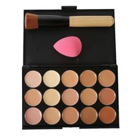 3PC Pro Salon Concealer Palette+Brush+Sponge Set