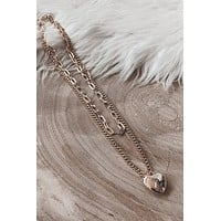 Heart's Racing Gold Layered Necklace Set