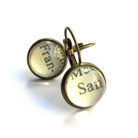 San Francisco San Fran Recycled Library Card Word Earrings Patina Brass