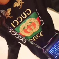 """Gucci"" Women Fashion Flower Embroidery Letter Pattern Print Back Rivet Long Sleeve Sweater Tops"