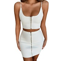 Two Piece Set Women Solid 2 Pieces Sling Tops And Mini Skirt Beach Bohemia Sets Sexy Women Two Piece Crop Top Skirt Sets #425