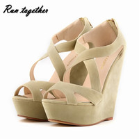 Free shipping New fashion summer women high heels sandals shoes wedge peep toe platforms roma Cross lacing pumps size 35-42