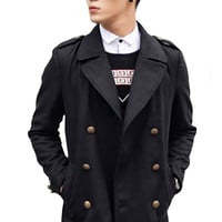 Removable-Collar Long Sleeves Double-Breasted Lapel Woolen Coat
