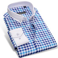 Men's Long Sleeve Contrast Plaid Checked Shirts With White Square Collar Casual Slim-fit Button-Down Dress Shirt