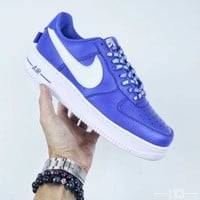 NIKE Air Force 1 AF1 X NBA Blue For Women Men Running Sport Casual Shoes Sneakers