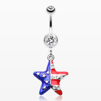 zzz-The American Star Flag Belly Button Ring