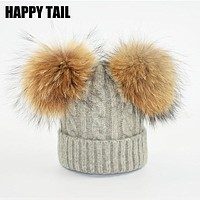 HAPPYTAIL Winter Baby Hat Pom Pom Knitted Toddler Kid Warm Real Double Raccoon Fur Balls Wool Beanies for Boys and Girls