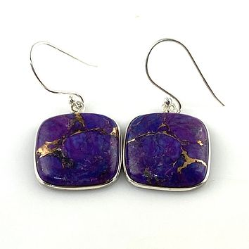 Purple Copper Turquoise Sterling Silver Square Earrings