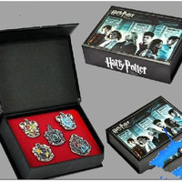 New Harry Potter Hogwarts House Metal Pin Badge 5pcs/set with box