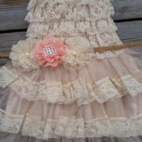 Flower Girl Dress/Shabby Chic Flower Girl /Wheat Cream Flower Girl/Country Wedding-Peach-Salmon-Coral Flower Girl Dress-Shabby Chic Dress