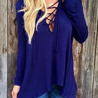 Deep V Neck Lace Up Royal Blue T-shirt