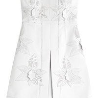 Fendi - Strapless Leather Dress with Floral Embellishment