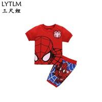 LYTLM Spiderman Costume Kids Baby Boys Sets Summer Boys Clothes T Shirt+Short Pants Cotton Sportswear Spider Printed Child Suit