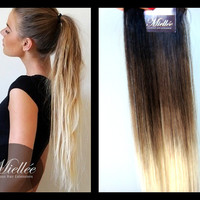 Clip In Hair Extensions / ASH BLONDE OMBRE / Human Hair / Body Wave Texture / 10 Piece Clip In Set
