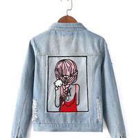Light Blue Back Girl Pattern Denim Jacket